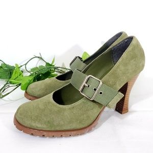 "Bakers "" Buck up""  Olive Green Mary Jane pumps"